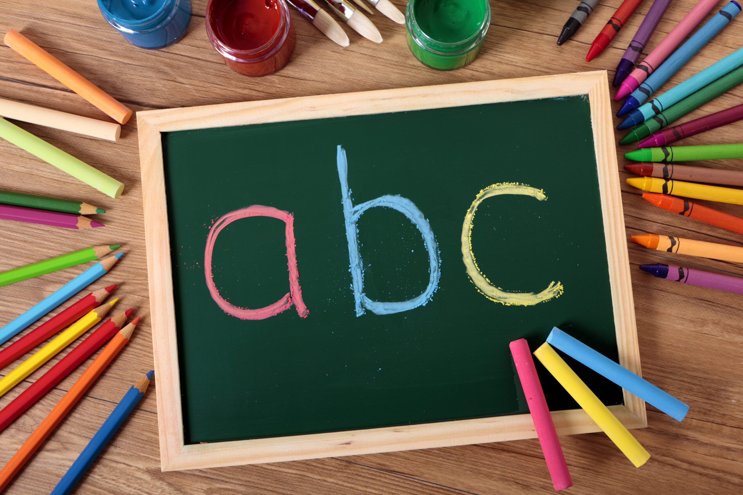 Image of chalkboard with the letters A B C on it